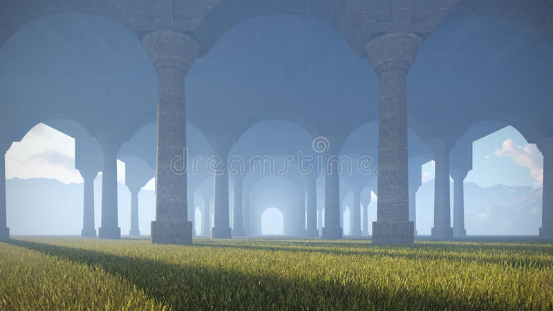 Ancient colonnade. In the desert vector illustration