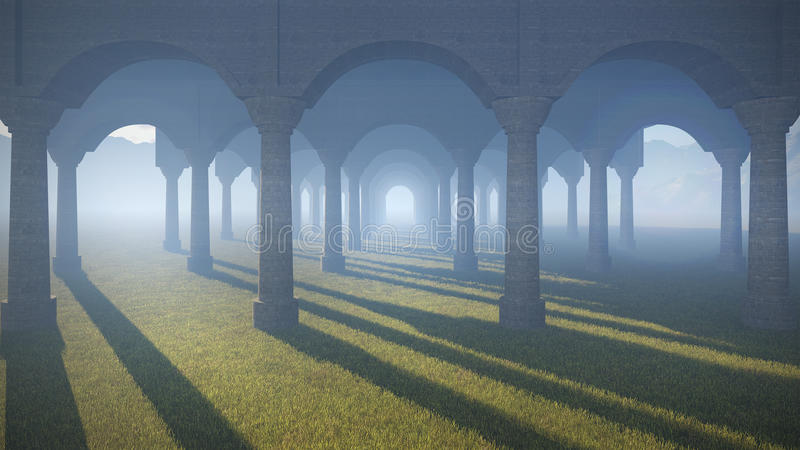 Ancient colonnade. In the desert royalty free illustration
