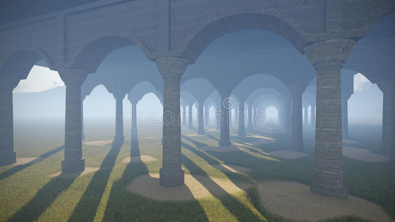 Ancient colonnade. In the desert stock illustration