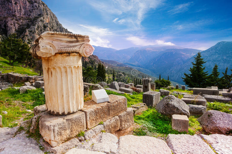 The ancient column in Delphi royalty free stock photography