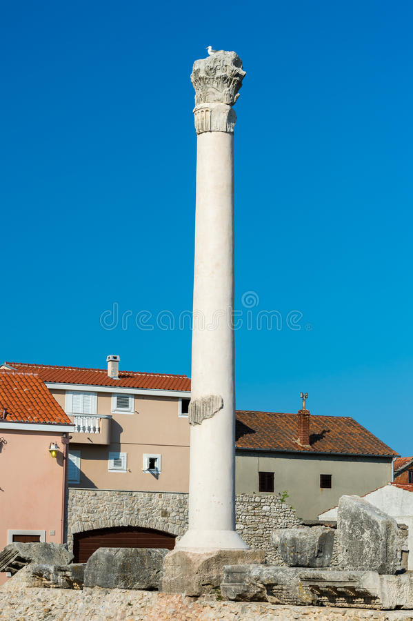 Ancient column in old town of Zadar, Croatia. stock photography