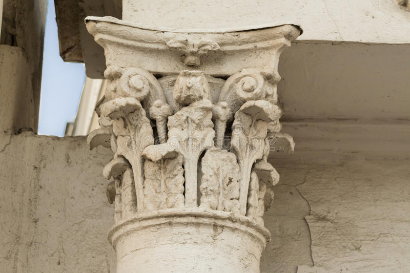 Ancient column with stucco royalty free stock image