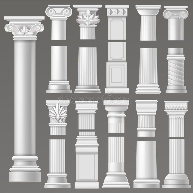 Ancient column vector historical antique column or classic pillar of historic roman architecture illustration ancientry royalty free illustration
