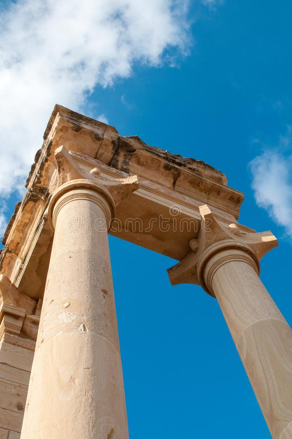 Ancient columns of Apollon Hylates,  sanctuary in Limassol district, Cyprus royalty free stock images
