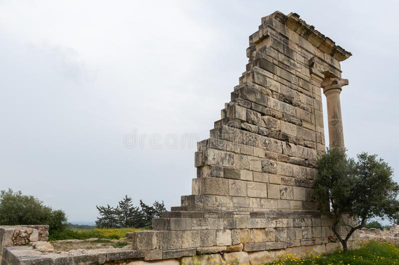Ancient columns of Apollon Hylates,  sanctuary in Limassol district, Cyprus stock photography