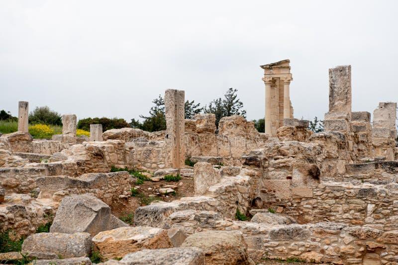 Ancient columns of Apollon Hylates,  sanctuary in Limassol district, Cyprus stock image