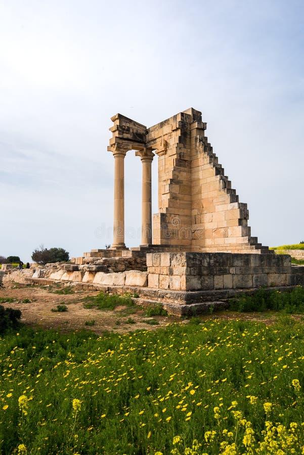 Ancient columns of Apollon Hylates,  sanctuary in Limassol district, Cyprus stock photos