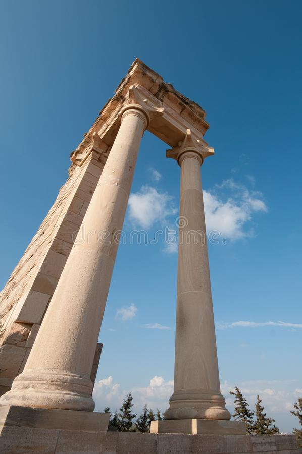 Ancient columns of Apollon Hylates,  sanctuary in Limassol district, Cyprus royalty free stock image