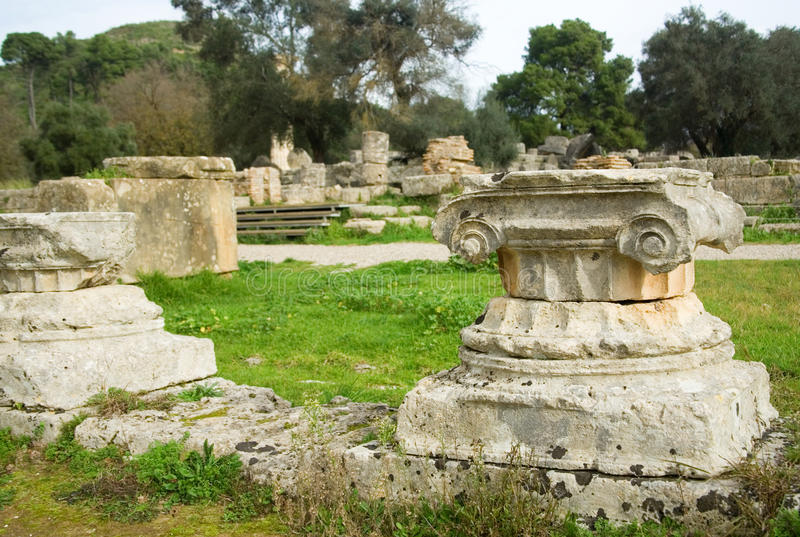 Ancient columns in Archea Olympia, Greece royalty free stock images