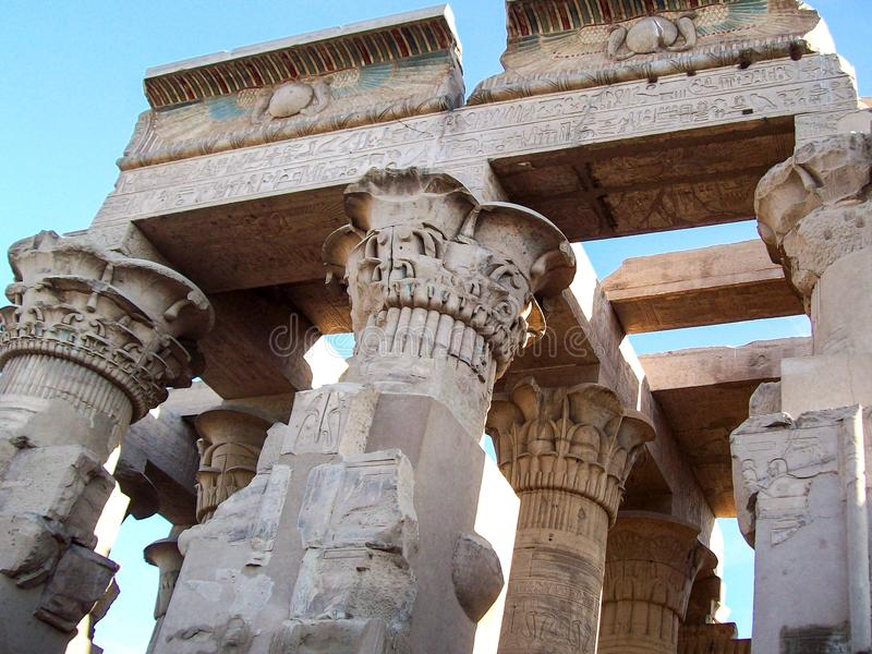 Ancient columns, detail, sculpture, carvings royalty free stock photo