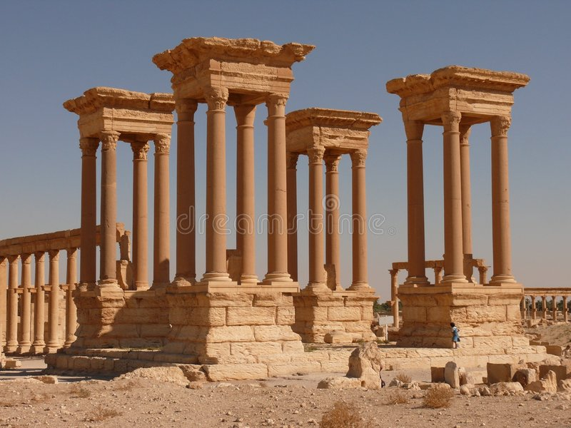 Ancient columns, girl, Palmyra royalty free stock images