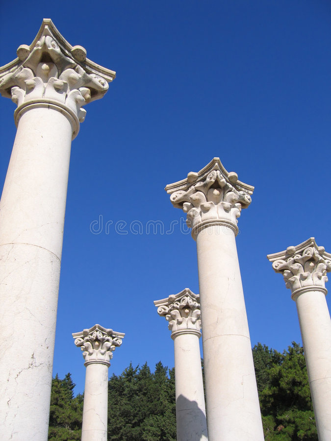 Ancient Columns Of Greek Temple Stock Photography