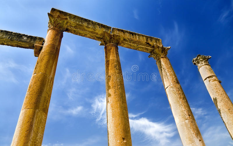 Ancient columns in Jerash, Jordan stock photography