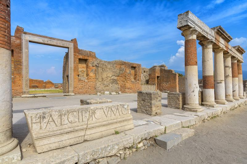 Ancient columns ruins after the eruption of Vesuvius in Pompeii, Italy. royalty free stock photo