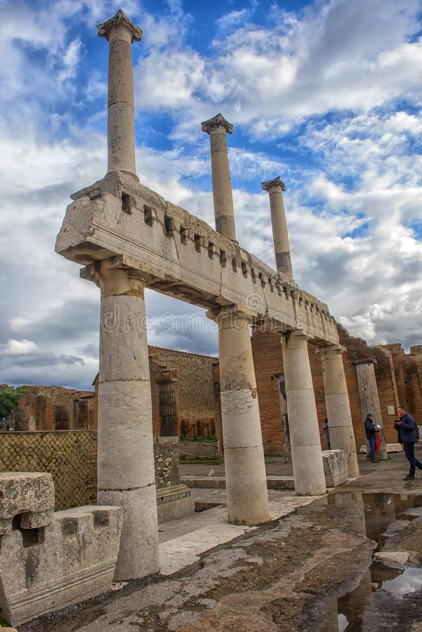 Ancient columns ruins after the eruption of Vesuvius in Pompeii, Italy stock photos
