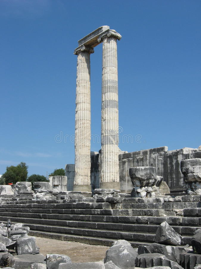 Ancient columns. Temple and Oracle of Apollo stock photography
