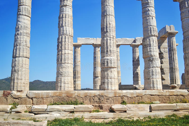 Ancient columns Temple of Poseidon Cape Sounion Greece royalty free stock images