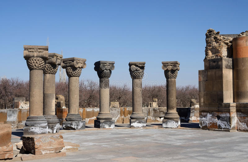 Ancient columns of Zvartnots (celestial angels) temple,Armenia stock photography