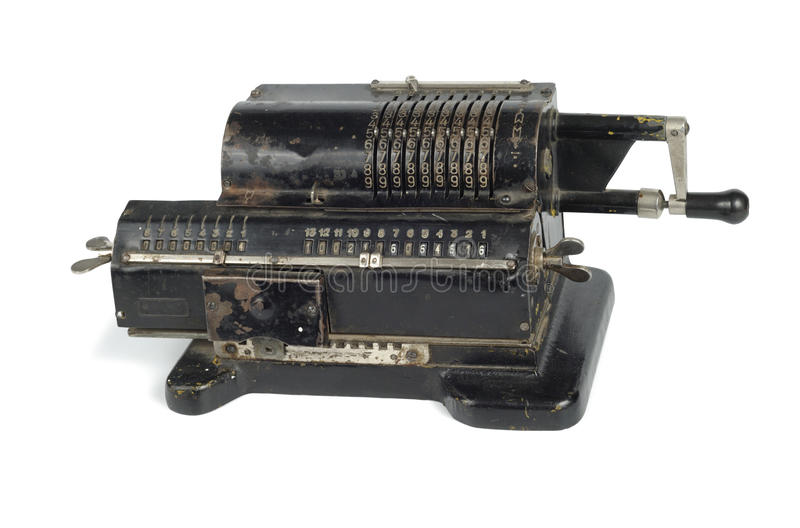 Ancient Computer. Old black adding machine isolated on white background with clipping path stock images