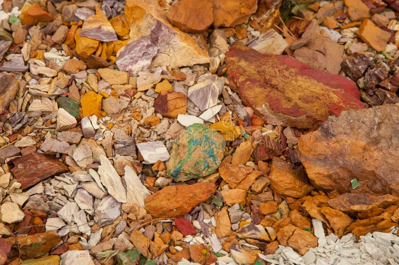 Ancient copper deposit. Stones with a high copper content. royalty free stock photo