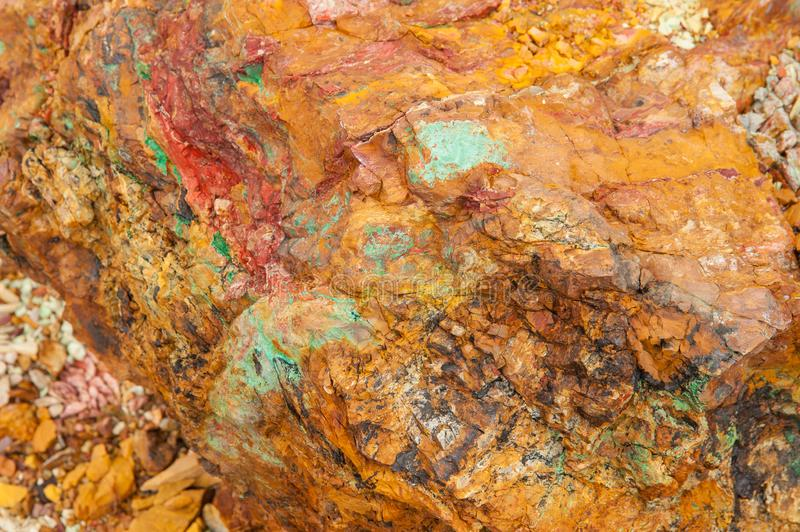 Ancient copper deposit. Stones with a high copper content. stock image