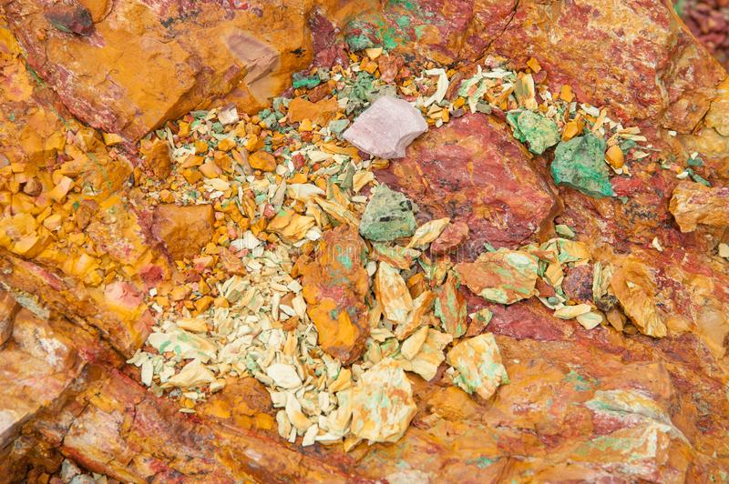 Ancient copper deposit. Stones with a high copper content. royalty free stock photos
