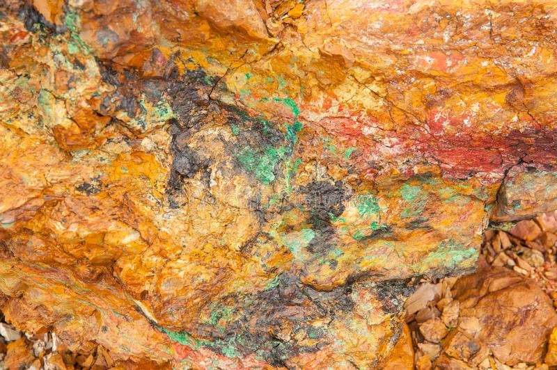Ancient copper deposit. Stones with a high copper content. stock photography
