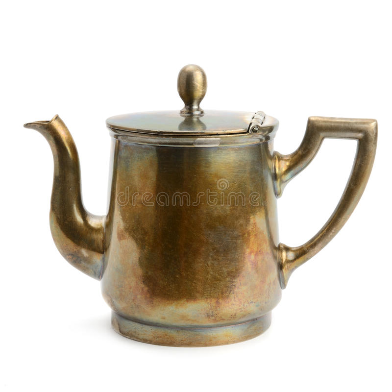 Ancient copper kettle isolated on white. Background royalty free stock photography