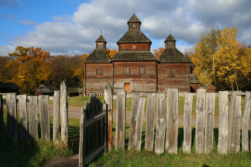 Ancient country church in Autumn Landscape stock photo