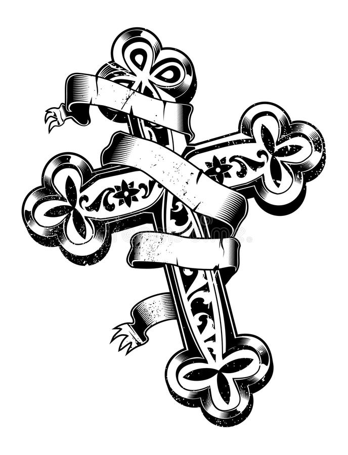 Download Ancient Cross With Ribbon Around Stock Vector