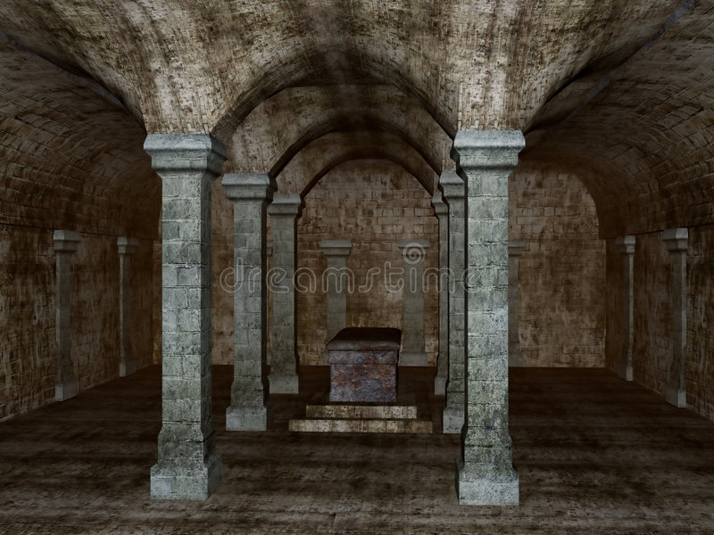 Ancient Crypt. Detailed rendering of an ancient crypt vector illustration