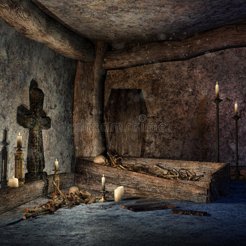 Ancient crypt. With a wooden coffin, candles and bones royalty free illustration