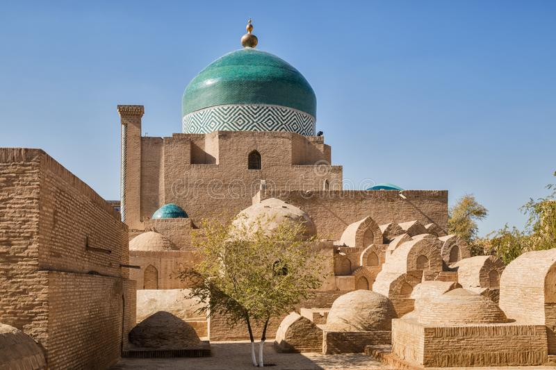 Complex of Pakhlavan Mahmud, Khiva. Ancient crypts at the walls of Pakhlavan Mahmud architectural complex, Khiva, Uzbekistan stock photography