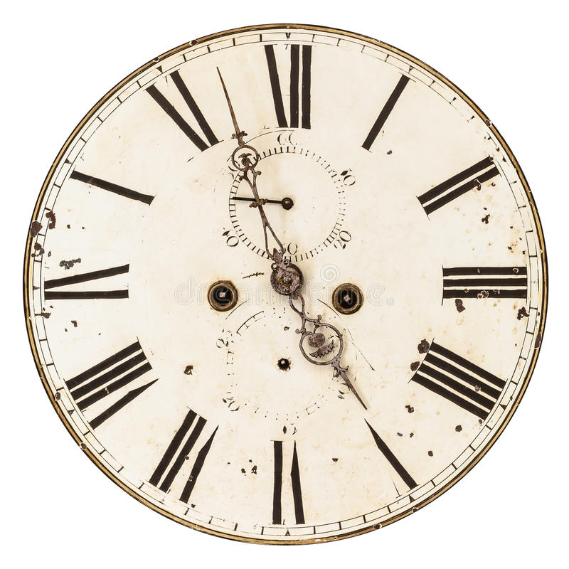 Ancient damaged clock face isolated on white. Ancient damaged clock face isolated on a white background stock photos