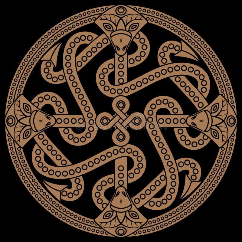 Ancient decorative dragon in celtic style, scandinavian knot-work illustration stock illustration