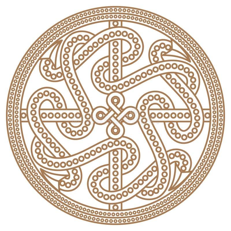 Ancient decorative dragon in celtic style, scandinavian knot-work illustration royalty free illustration