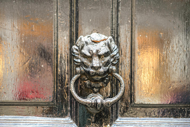 Ancient door knoker with lion royalty free stock photo