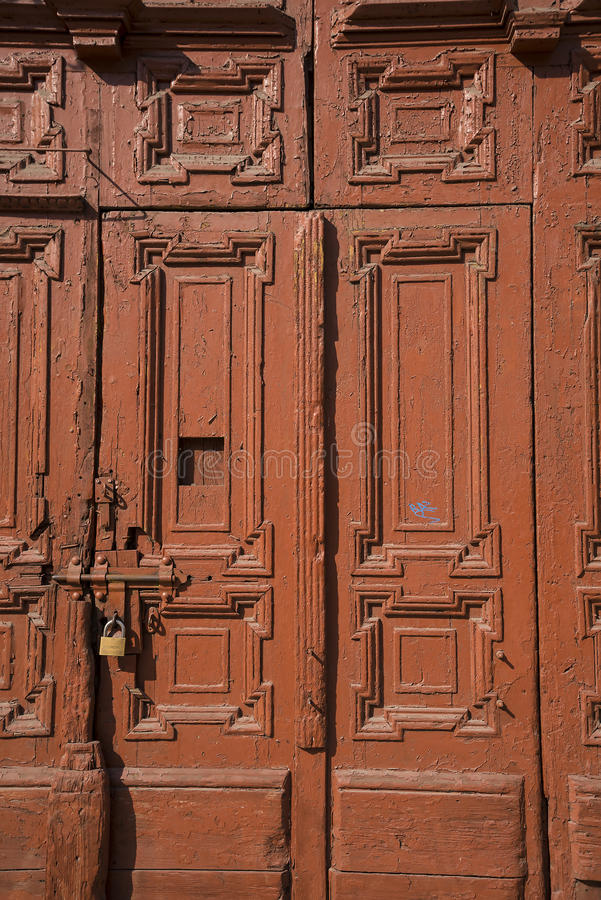 Ancient Door in Krakow Poland. The city of Krakow is known as the city of churches. The abundance of landmark, historic temples along with the many monasteries stock photos