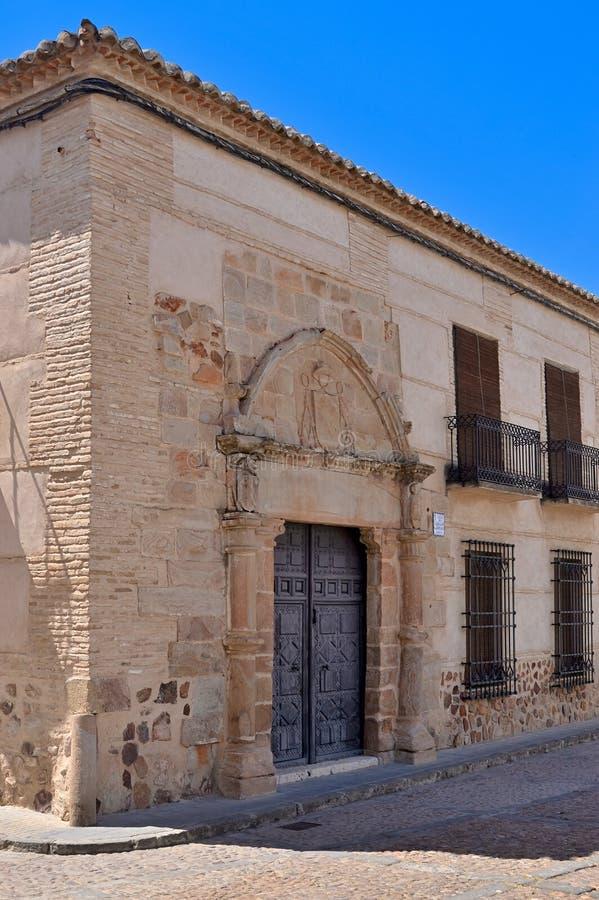 Ancient door in Plaza de Santo Domingo in Almagro. Almagro, Spain - June 1, 2018: Ancient XVI century door in Plaza de Santo Domingo at the old town of Almagro stock photos