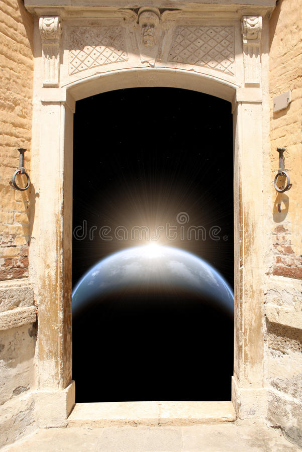 Ancient door and space scene royalty free illustration