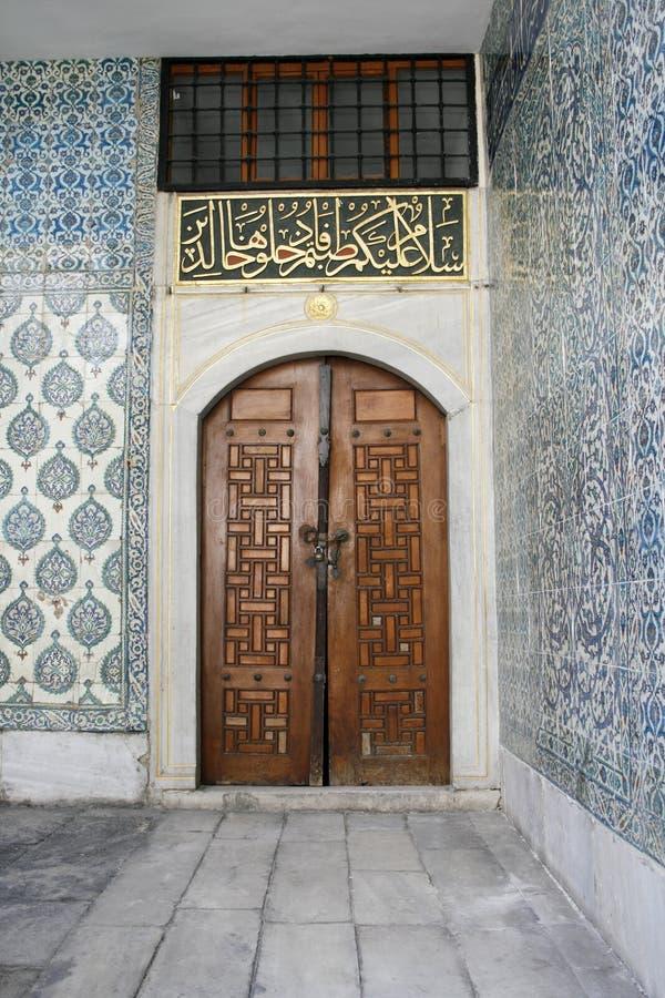 Ancient door at Topkapi palace stock image