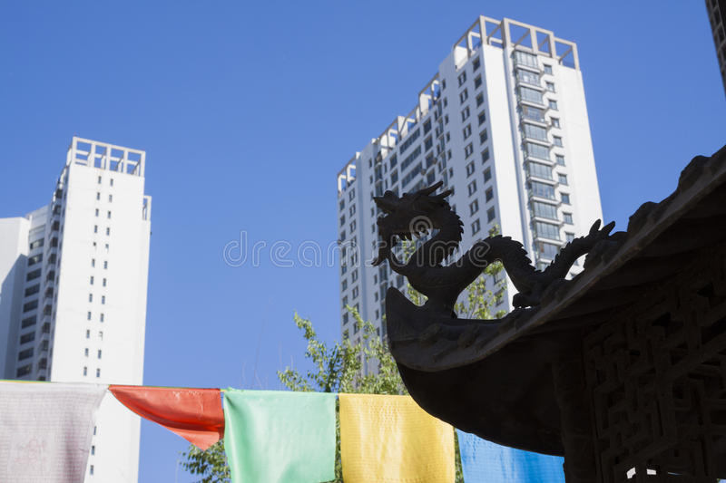 Ancient Dragon Looked At Modern City Royalty Free Stock Photos