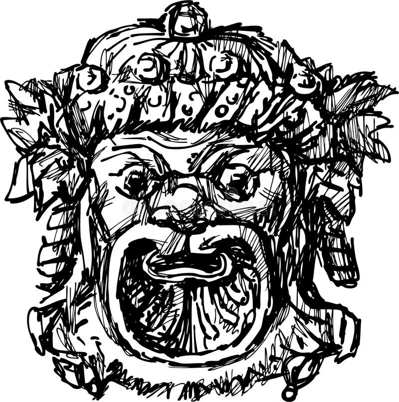 Ancient drama mask stock illustration