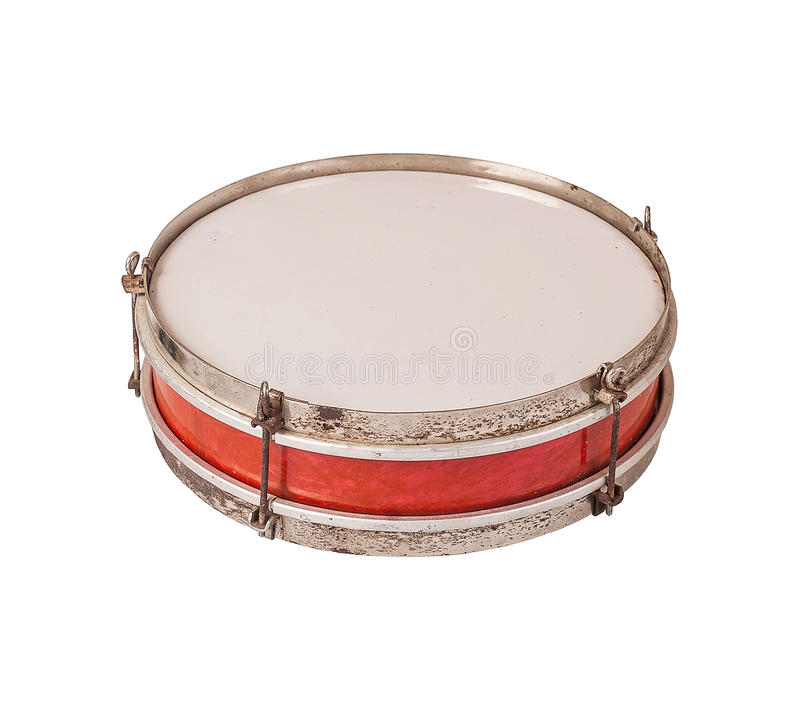 Ancient drum isolated on a white background stock photography