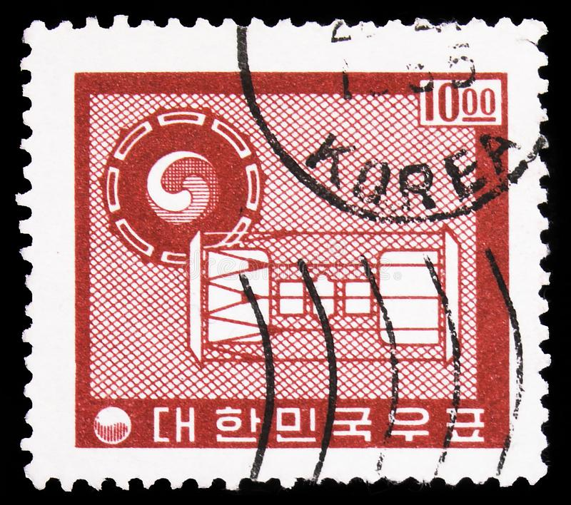 Ancient Drums, Definitives - Country Symbols serie, circa 1962. MOSCOW, RUSSIA - SEPTEMBER 22, 2019: Postage stamp printed in South Korea shows Ancient Drums royalty free stock photography