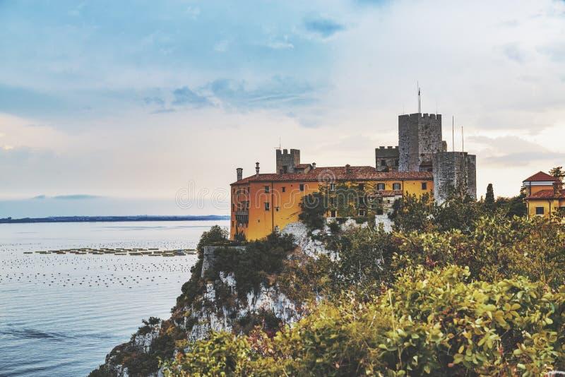 Ancient Duino Castle on the coast of Adriatic sea, Italy stock image