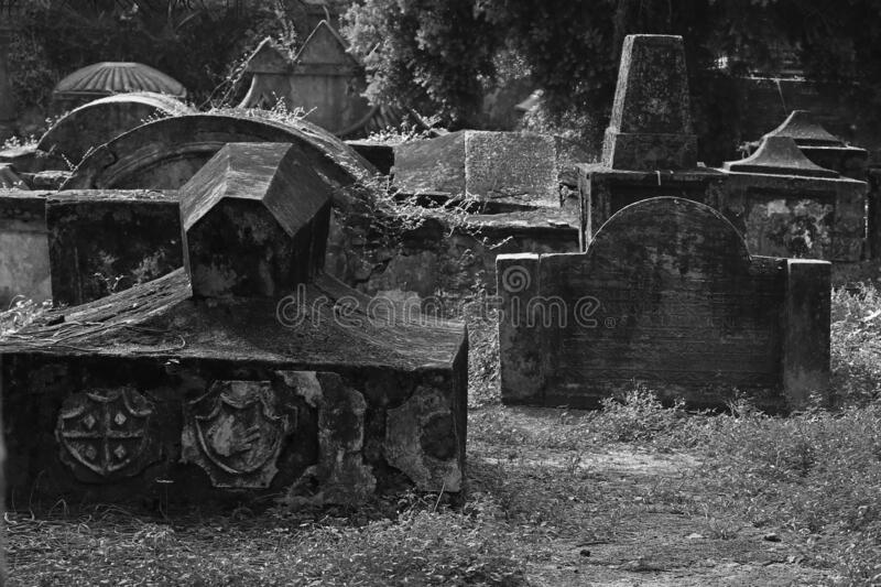 Ancient dutch cemetery in fort kochi, India.  royalty free stock photography