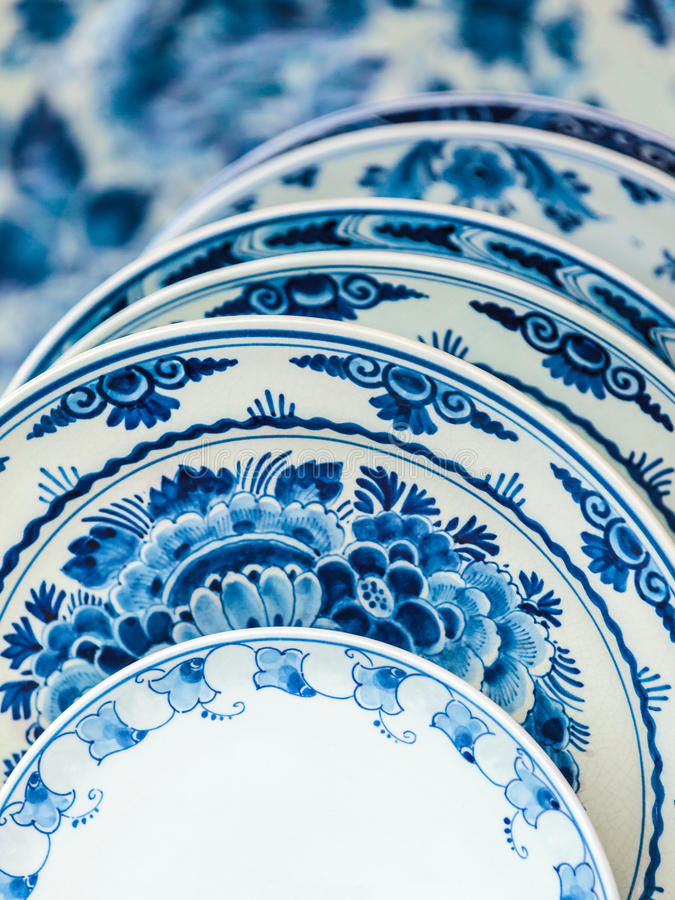 Ancient Dutch dishware from Delft. Ancient Dutch porcelain blue and white dishware from Delft royalty free stock image