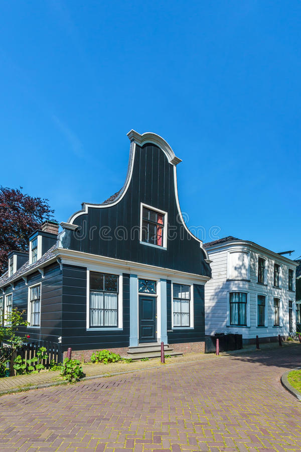 Ancient Dutch wooden houses in Amsterdam royalty free stock image