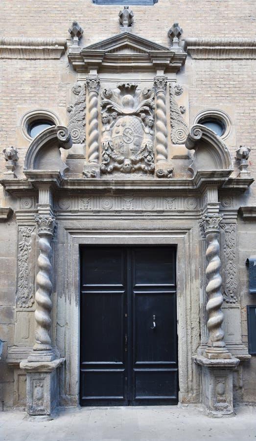 Ancient edifice in the Spanish town Zangoza royalty free stock photos